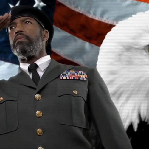 Eagle and flag composite