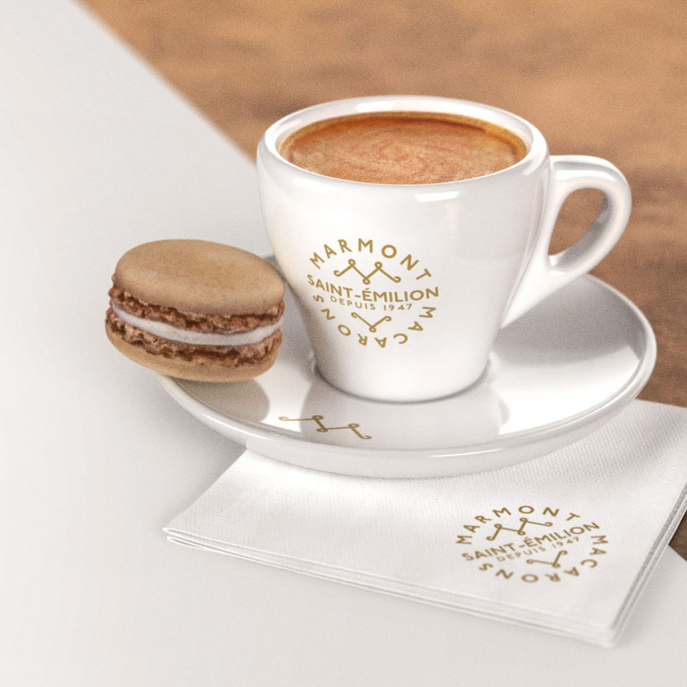 Marmont Macarons logo on cup