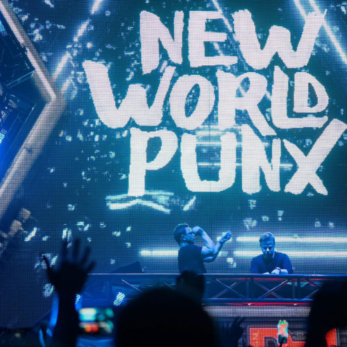 New World Punx logo on stage