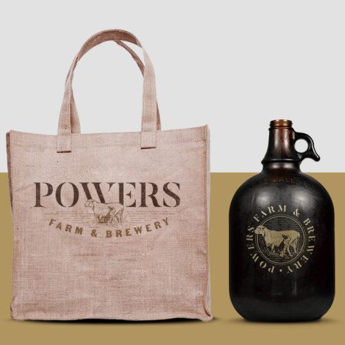 Powers logo on bag and growler